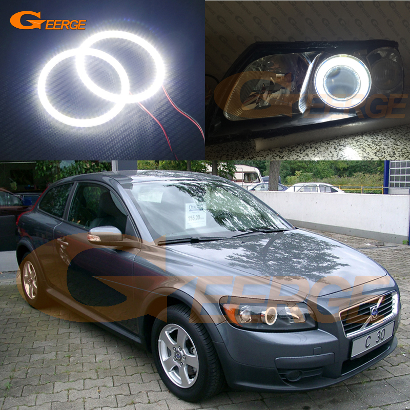 For Volvo C30 2007 2008 2009 2010 projector lens Excellent Angel Eyes Ultra bright illumination smd led Angel Eyes kit volvo fh4х2 2008 года