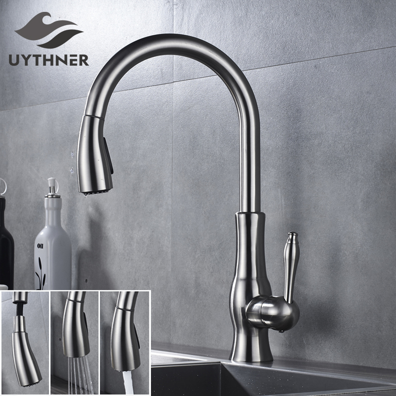 Stainless Steel Kitchen Sink Faucet Single Handle Pull Out Mixer Tap Countertop Swivel Spout Faucet Nickel Brushed free shipping high quality chrome brass kitchen faucet single handle sink mixer tap pull put sprayer swivel spout faucet
