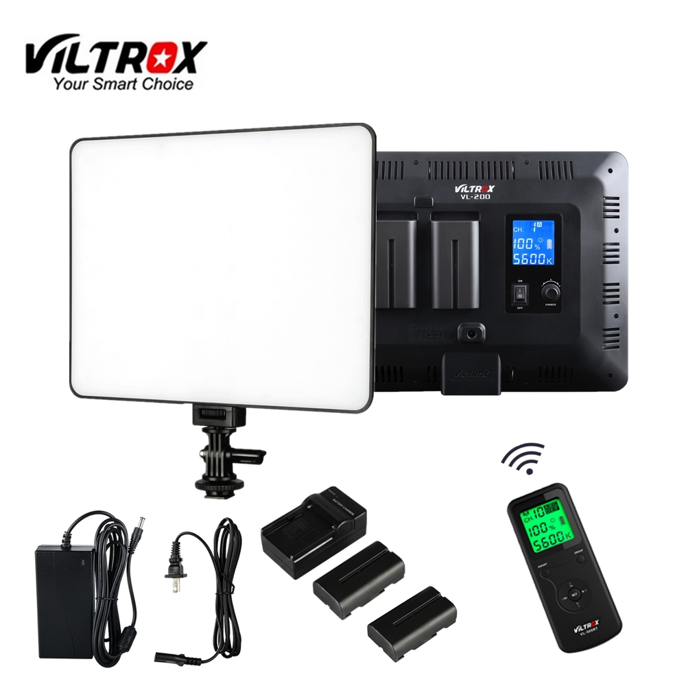 Viltrox VL-200 Wireless Remote LED Video Studio Light Lamp Slim Bi-Color Dimmable +AC Adapter+battery charger for camera photo viltrox vl 200 pro wireless remote led video studio light lamp slim bi color dimmable ac power adapter for camcorder camera