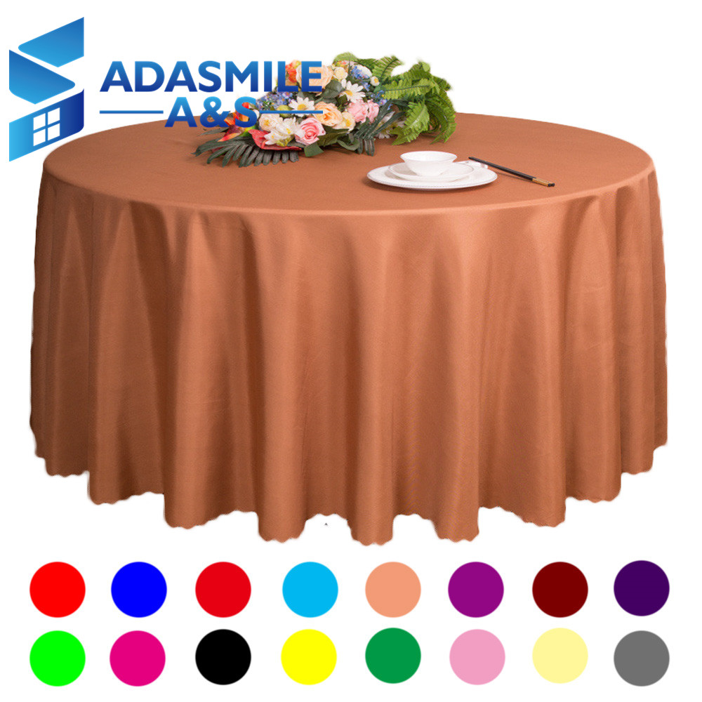 Nappe De Table Ronde 12 38 34 De Réduction Adasmile En Gros Grande Taille Polyester Table Ronde Nappe De Mariage Table De Fête Couverture Carrée Table à Manger
