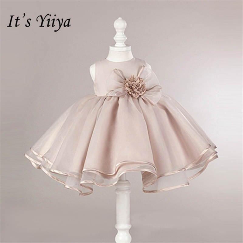 It's yiiya New O neck Sleeveless Little Flower Girl Dresses Elegant Big Bow Girl Dress Princess Ball Gown B003