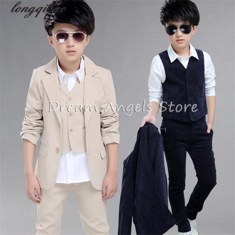 ФОТО 3pcs (Jacket+Vest+Pants) Fashion Corduroy Boy Slim Fit Suits 4-12T Boys Khaki Wedding Suits With Pants Business Boy Formal Wear