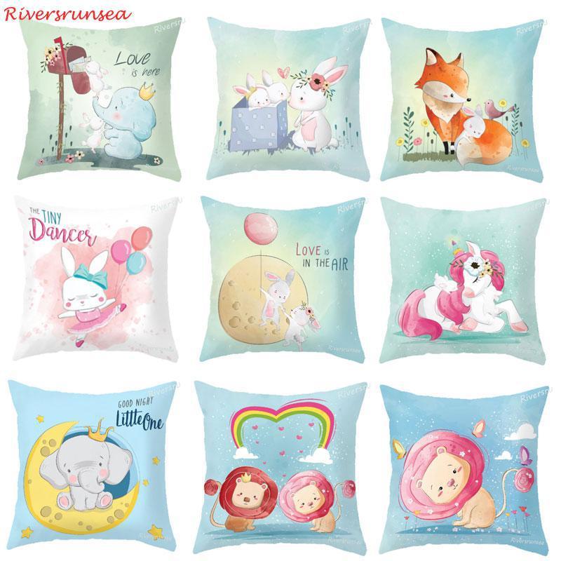 Cute Cartoon Animal Bunny Rabbit Cushion Adorable Fox Elephant Lion Panda Unicorn Plush Pillow For Pink Girls Room Decoration