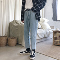 Мужские Стрейчевые облегающие Классические облегающие джинсы в Корейском стиле  синие повседневные брюки  байкерские джинсовые брюки  S-2XL  ...