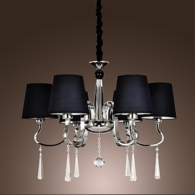 LED Modern K9 Crystal Chandelier With 6 Lights Chandeliers With Fabric,Lustres De Sala,For Home lights,E14 Bulb Included