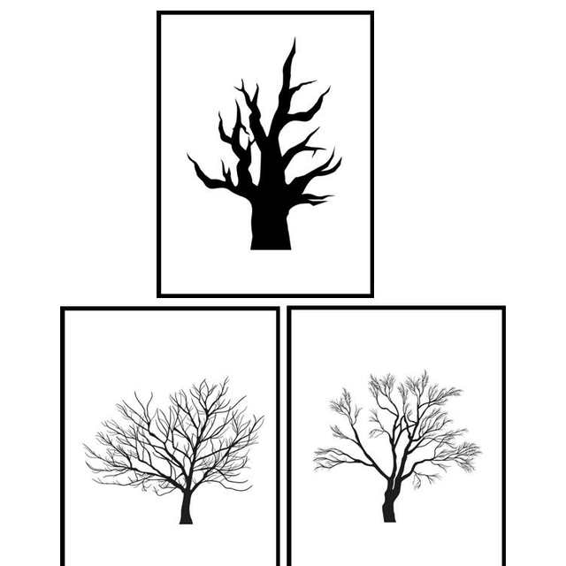Abstract Black White Tree Branch Canvas Painting Modern Branches