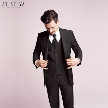 The groom suits fashion men blazers two button men suits high Quality Bridegroom/groom Tuxedo (jacket+pants+vest)