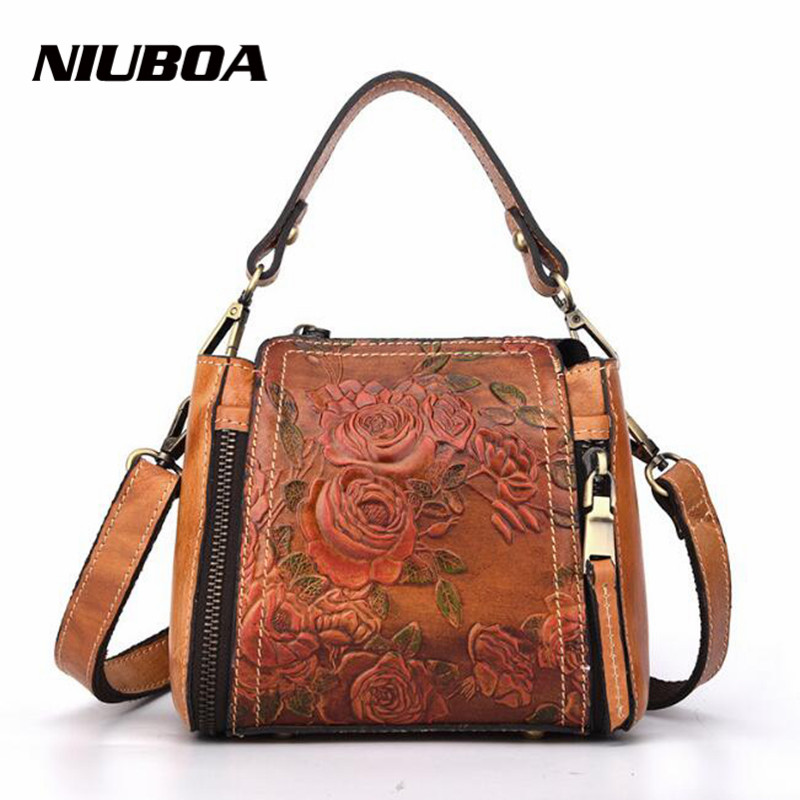 NIUBOA Fashion Genuine Leather Messenger Bag New Women Bucket Shoulder Bag Handbag Euro Vintage Summer Embossed Crossbody Bags niuboa soft genuine leather women tote bag leather vintage brand work handbag new euro women bucket bag elegant shoulder bags