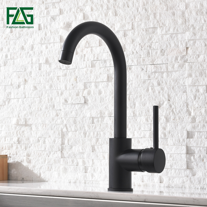 FLG Black Kitchen Faucets 360 Degree Swivel Kitchen Sink Faucet Brushed Nickel Mixer Brass Tap Deck Mounted AEG169-33B black pearl marble stone polished brass swivel kitchen sink faucet 360 degree rotating deck mounted cuisine mixer tap torneira