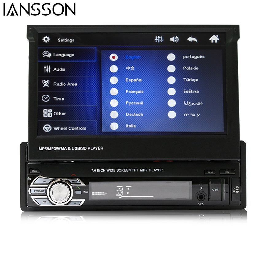 Car Radio Stereo Universal 7 inch slip down Touch Screen 1DIN Remote Control FM Bluetooth MP3 MP4 MP5 Music Audio Player 9601 7 inch slip down 1din car stereo fm only bluetooth mp3 mp4 player with usb sd
