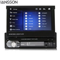 Car Radio Stereo Universal 7 Inch Slip Down Touch Screen 1DIN Remote Control FM Bluetooth MP3