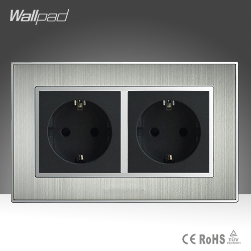 CE Approved Wallpad AC110-250V 146 Standard Double EU 16A Socket Silver Satin Metal EU Standard Wall Socket Power Supply
