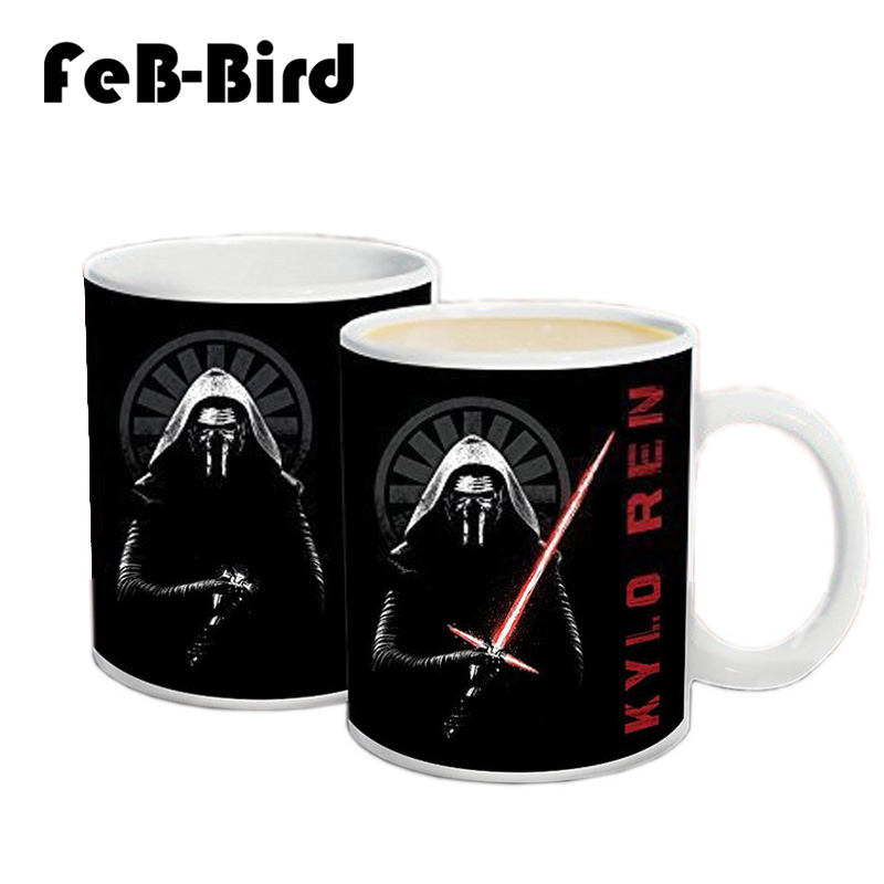 New Arrive Star Wars Coffee Mug, Kylo Ren Lightsaber Printing Heat Sensitive Magic Cups and Star Wars Mugs