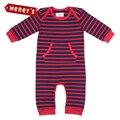 Meney's 2017 Macacão para Recém-nascidos Meninos Roupas Primavera Red & Blue Striped Bolso Terry Do Bebê One-Pieces Macacão de pano Crianças