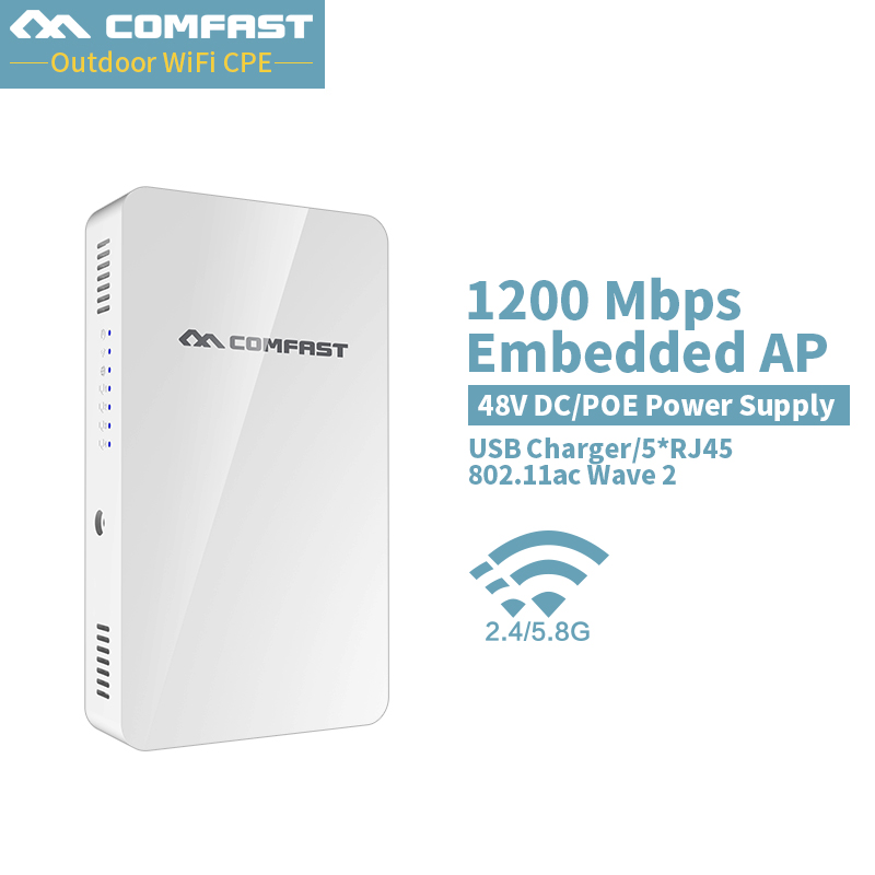 COMFAST 1200Mbs Wall Embedded AP Router 2.4G 5.8G Dual Band Wireless WIFI Wave2 Access Point USB Charger +5* RJ45 Port CF-E560AC comfast 750mbps high power router 11ac wifi access point 6 6dbi antenna 600 square meters coverage wireless router cf wr635ac