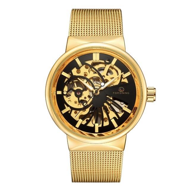 2ba68ea5720 Forsining Relógios Mecânicos Homens Marca De Luxo Ultra fina Mão-vento  Mecânica Skeleton Malha Net