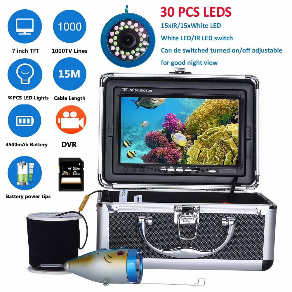 Mountainone 7 Inch DVR Recorder 15M 1000TVL Fish Finder Underwater Fishing Camera with White LEDs and Infrared Lamp for FishingMountainone 7 Inch DVR Recorder 15M 1000TVL Fish Finder Underwater Fishing Camera with White LEDs and Infrared Lamp for Fishing