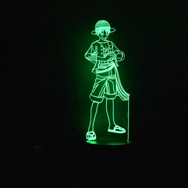 3D LED 7 Color Changing Creative One Piece Luffy Night Lamp Home Decor