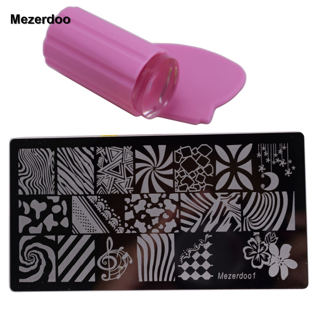 Strip Nail Platen Art Image Plate + Roze Jelly Siliconen Stamper - Nagel kunst