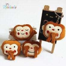 Wholesale 30pcs/Lot 7cm No talking No listening No Seeing Emoji Monkey Plush Toy Key chain With Metal Ring Emoticons Pendant