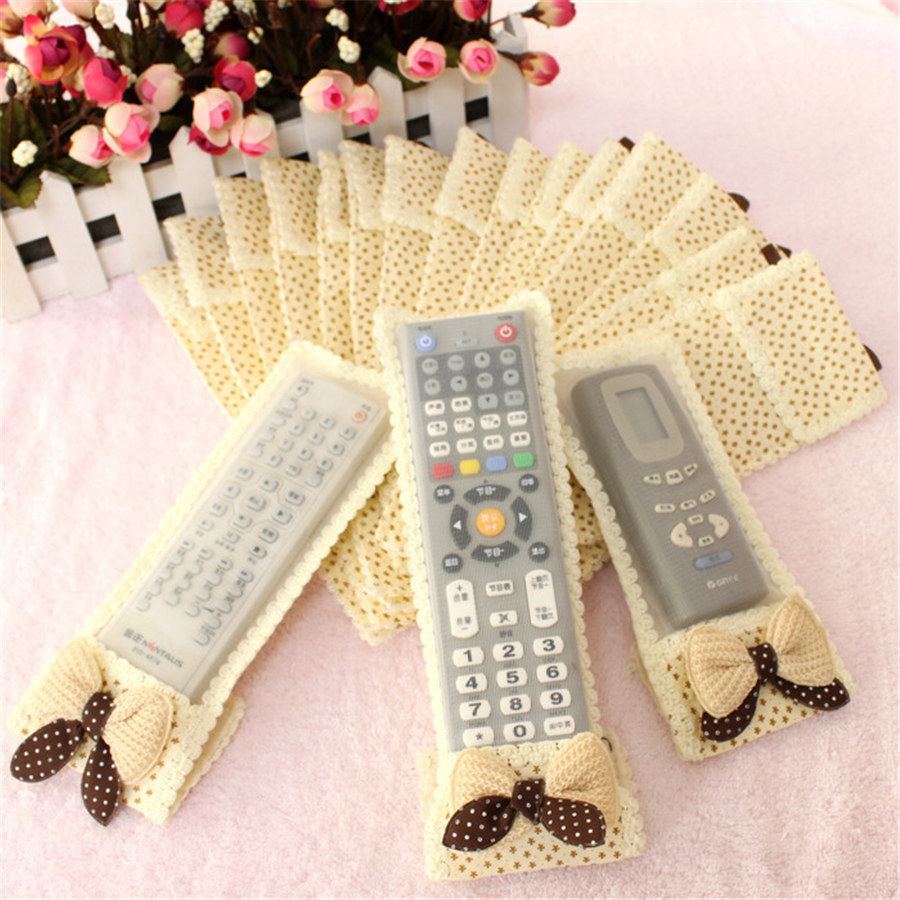 NEW 3 Size TV Air Conditioning Remote Control Case Cover Bow-knot Lace Cover Greaseproof Dust Cover Free Shipping 3color 24