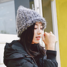 Winter new thick wool curling beanies  Fashion solid color wild lady warm Knitted hat