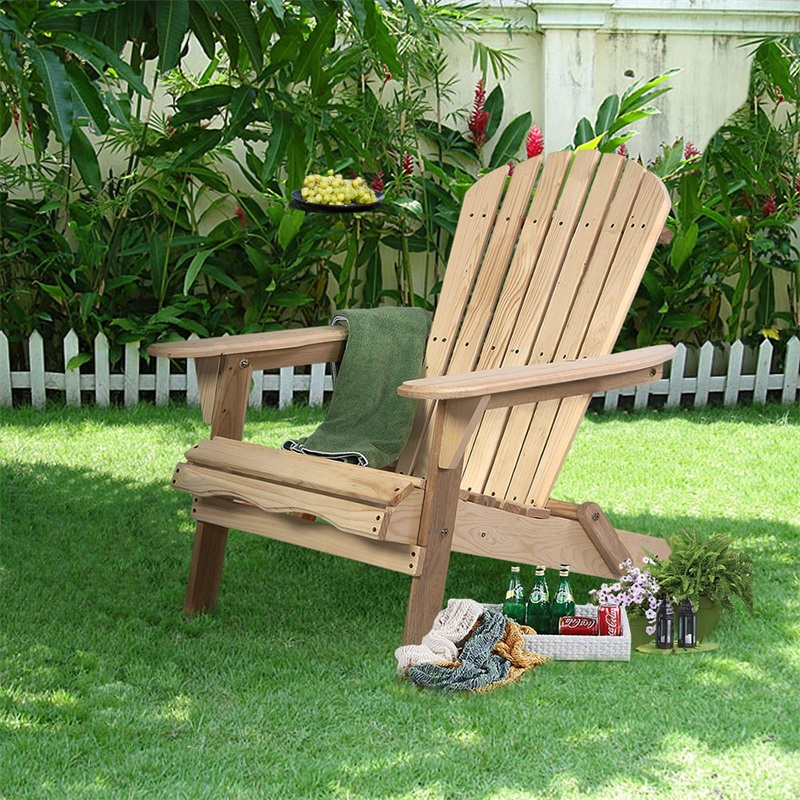 COSTWAY Ergonomic Outdoor Garden Patio Furniture Folding Sun Lounger Fir Wood Adirondack Chair Chaise Lounge HW50296