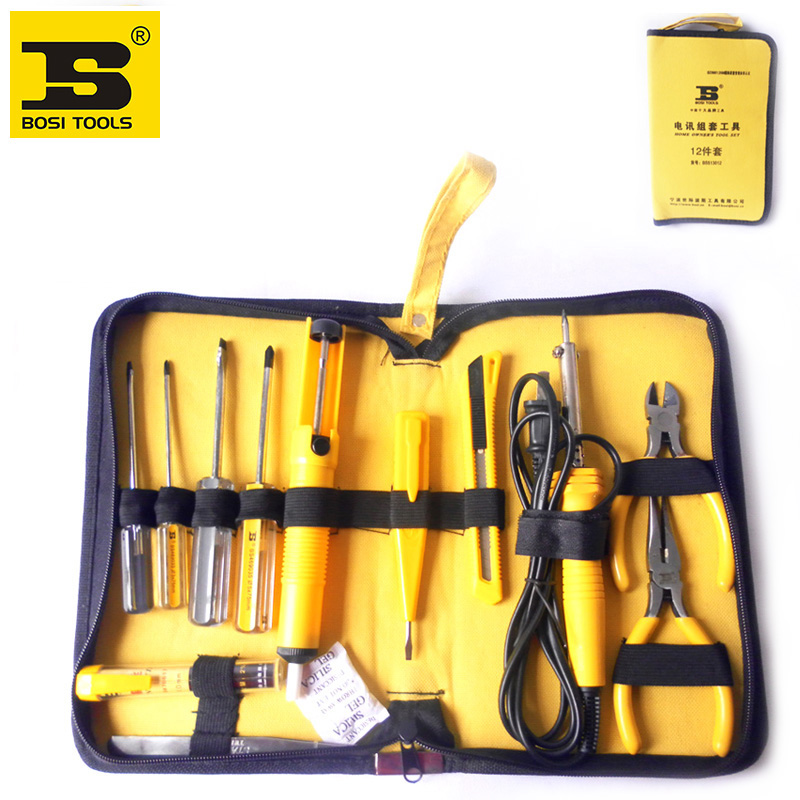 free shipping BOSI 12 in 1 telecom computer repair tools set electronic hand tool kit