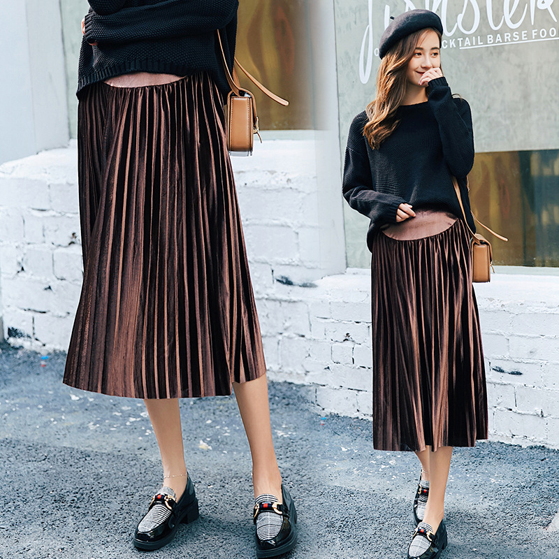 BONJEAN New Autumn Winter Maternity Skirts Fashion Care Belly A-Line Pleated Skirt High Waist Clothes For Pregnant Women