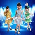 Novo design meninas Bling Dancewear crianças colete vestido de dança / saia / traje / terno brilho fase executar