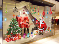 Sale Three Generation Removable Wall Stickers Cartoon Santa Claus Christmas Shops Bedroom Decorative Wall Stickers AY226