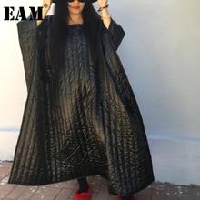 [EAM] High Quality 2018 Winter Black Personality Irregular Large Size Loose Cloak Long Cotton Padded Fashion New Women's LA678