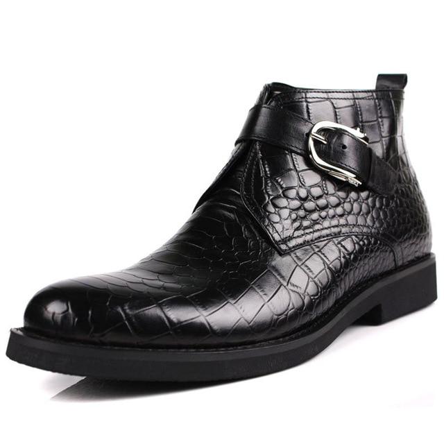 Плюс Размер весна мужская челси сапоги Продажа Натуральной Кожи крокодил ботильоны дизайнер черный Ручной Платье сапоги Работа
