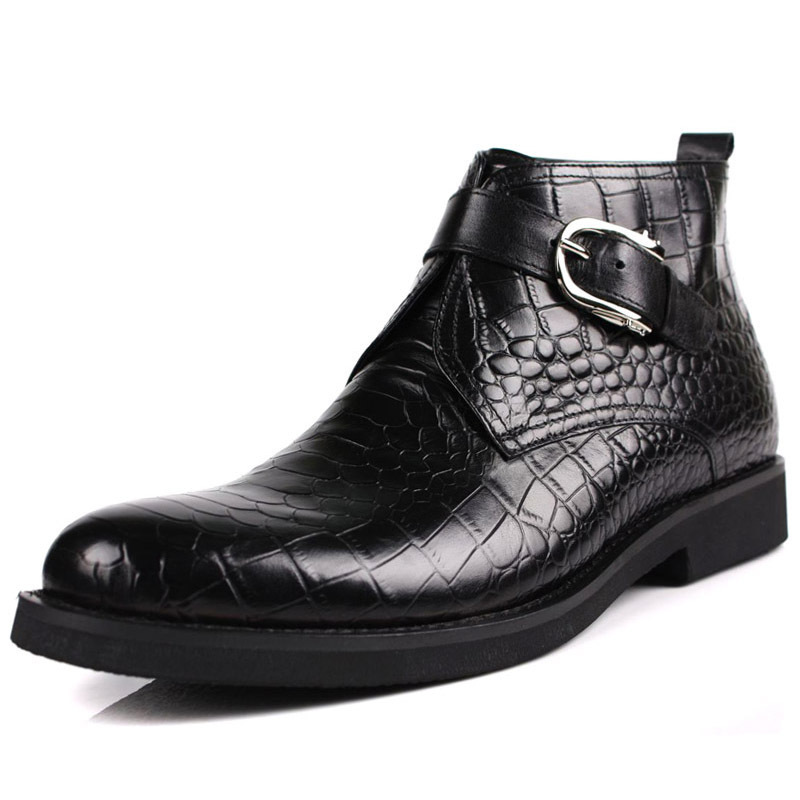Plus Size spring men s chelsea boots Sale Genuine Leather crocodile Ankle boots designer black Handmade