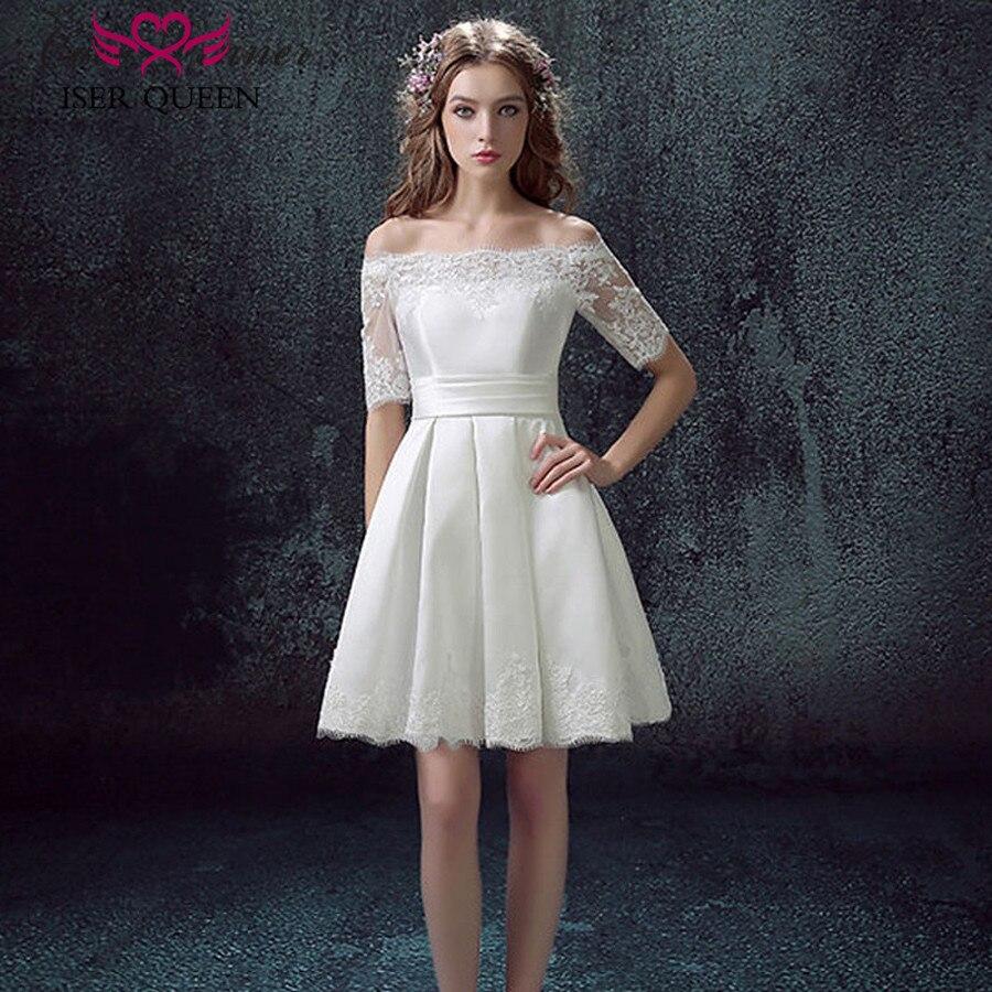 Beach Wedding Dresses 2019: Half Sleeve Short Beach Wedding Dresses 2019 Lace