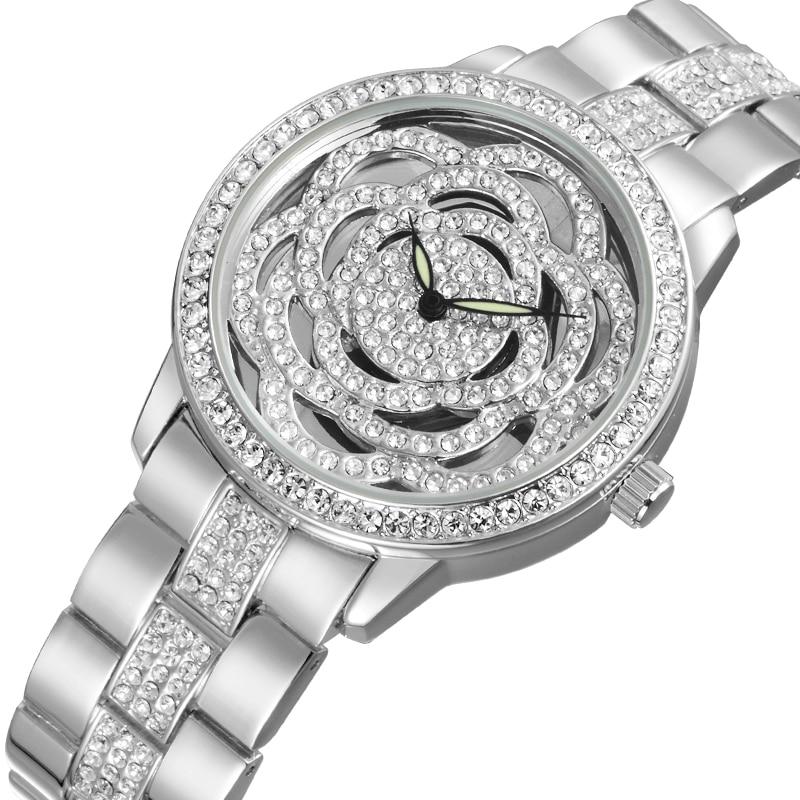 WEIQIN Top Brand Luxury Women's Watches Rhinestone Rose God Silver Bracelet Quartz Watch Fashion Ladies Gift Dress Wristwatch