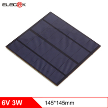 ELEGEEK 3W 6V Solar Panel Cell 500mAh PET Laminated DIY Polycrystalline Solar Panel 145*145mmfor Solar Systemt and LED Test
