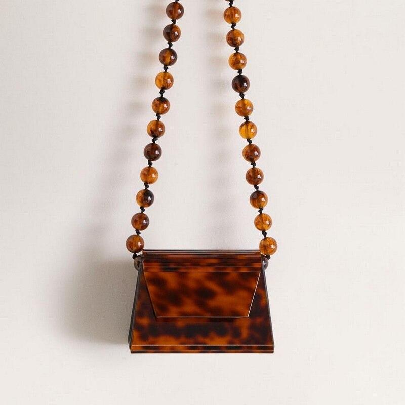 Sacos de leopardo Âmbar Resina Acrílica Beads Mulheres Messegner Sacos Trapézio Caixa Crossbody Sacos de Ombro do Sexo Feminino 2019 Bolsa Da Marca de Luxo