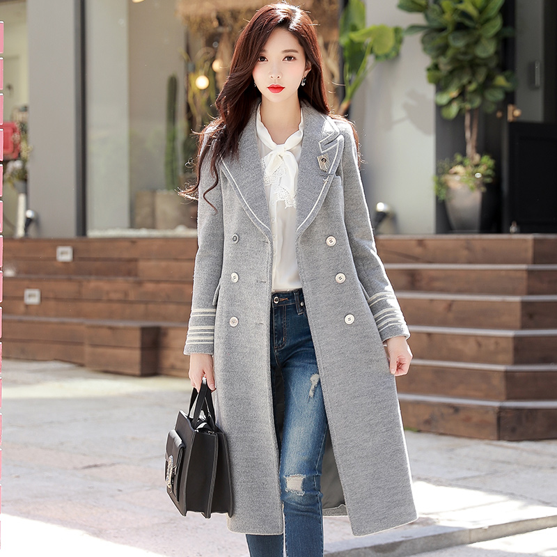 Dabuwawa Серый теплое зимнее длинное пальто Для женщин отложной Тренч воротник Шерстяное пальто женские пиджаки