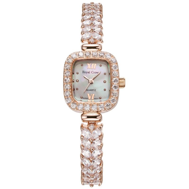 Royal Crown Lady Women s Watch Japan Quartz Hours Jewelry Clock Fashion Bracelet Band Shell Luxury