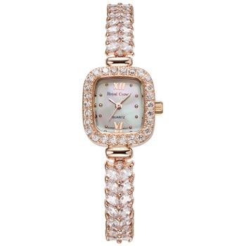 Royal Crown Lady Women's Watch Japan Quartz Hours Jewelry Clock Fashion Bracelet Band Shell Luxury Rhinestones Bling Girl's Gift - discount item  41% OFF Women's Watches