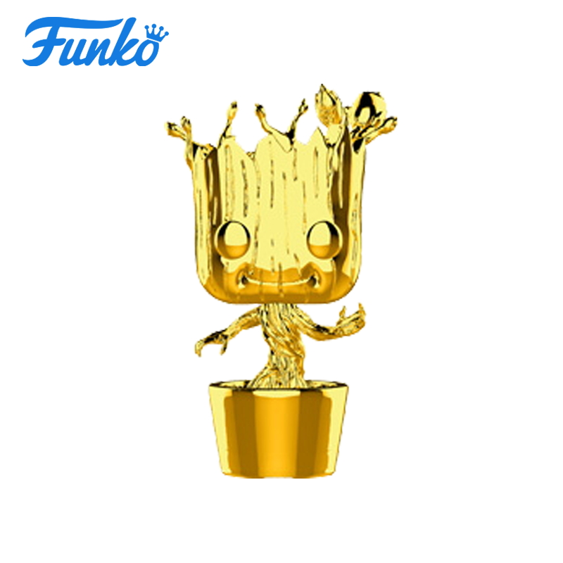 цена на Hot 1pcs FUNKO POP! Marvel The 10th Anniversary Guardians of the Galaxy Groot Boy Girl Birthday Vinyl Action & Toy Figures Gift