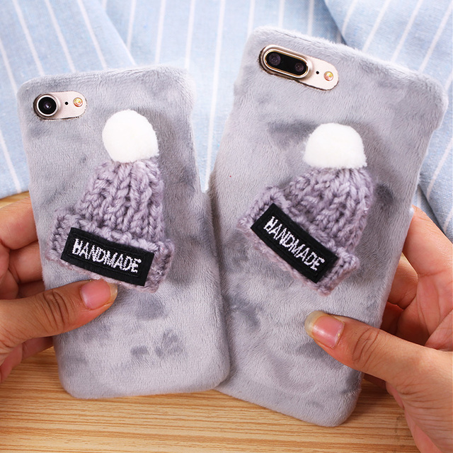 online retailer eb281 3d049 US $3.21 |For iPhone 6 Case Girly Warm Knitwear Christmas Hat Rabbit Fur  Plush Case For iPhone 6S Plus 6 Plus 7 Plus 6 6S Hard Phone Cases on ...