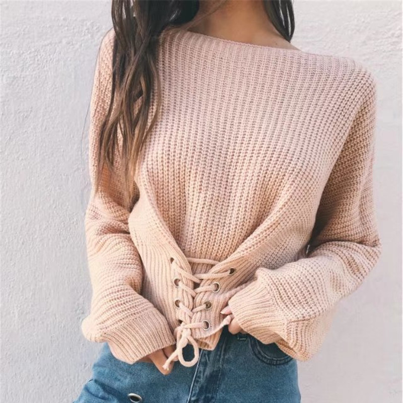 Lace up warm knitted pullover sweater Women black waistband long sleeve jumper Autumn winter 2017 knitting