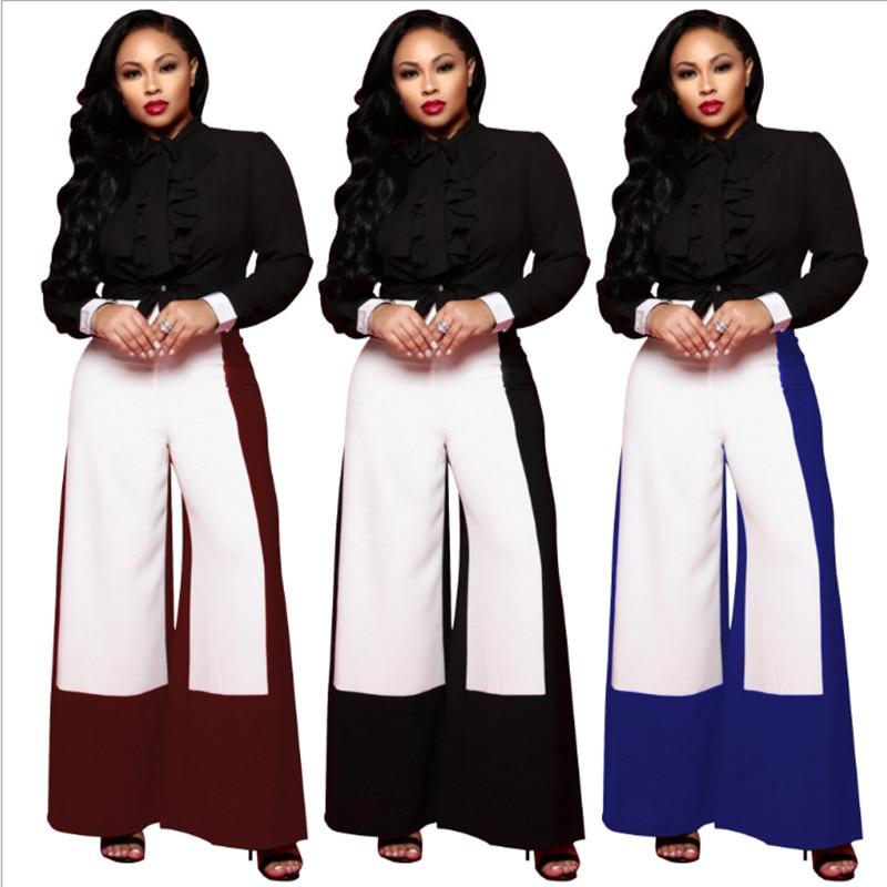Женские брюки свободного кроя, красные, синие, черные, белые лоскутные брюки-клеш, брюки на молнии для женщин