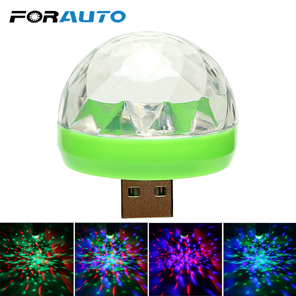 FORAUTO Car LED Decorative Lamp Mini RGB Atmosphere Light Auto Interior LED USB Club Disco Magic Stage Effect Lights Car Styling tak wai lee 1pcs usb led mini wireless car styling interior light kit car styling source decoration atmosphere lighting 5 colors
