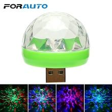 Luz LED decorativa para coche de FORAUTO, Mini RGB, luz de ambiente, luz LED Interior de coche, USB, discoteca, escenario mágico, estilo de coche con luces
