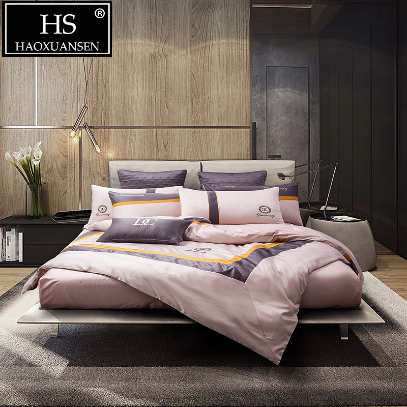 Модные розовые комплекты постельного белья в деловом стиле из 4 предметов, имитация шелка, хлопок, пододеяльник, простыня, набор, 200 нитей, размер queen King