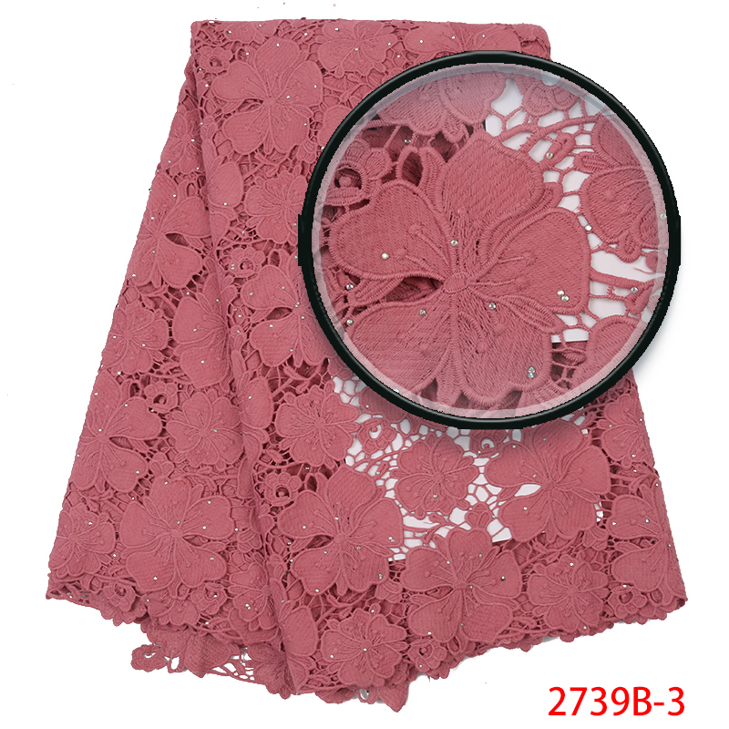 Newest African Guipure Lace Fabric 2019 High Quality Lace French Nigerian Cord Laces With Stones For Dresses KS2739B-3