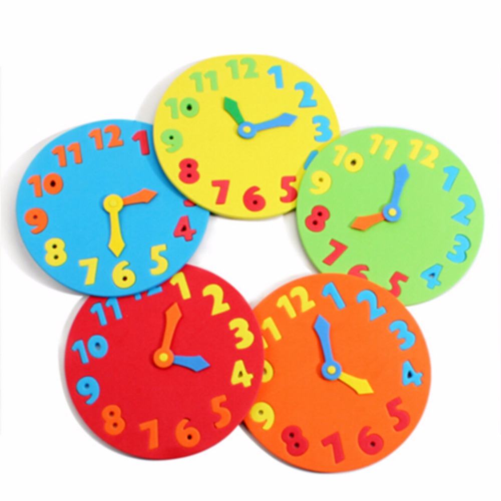 Baby Kids EVA Foam Toys Clock Number Puzzle Baby Brain Development Toys Gifts Random Color